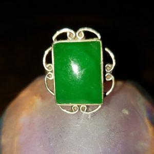 Sterling  Silver Green Onyx Ring Sz 9.25